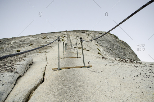 The start of the cables leading up to the top of Half Dome in Yosemite, California