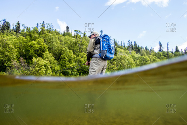 Man fly fishing for Sockeye Salmon