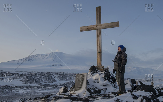 Cape Evans, Antarctica - August 8, 2014: Memorial to Captain Robert Falcon Scott at Cape Evans, Antarctica