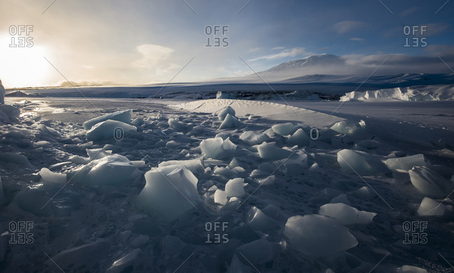 The broken surface of the frozen McMurdo Sound in the Ross Sea region of Antarctica