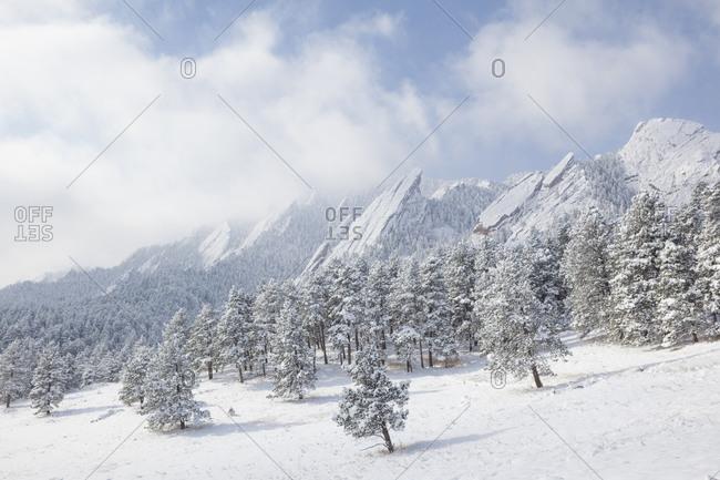 The Flatirons in snow, Chautauqua Park, Boulder, Colorado