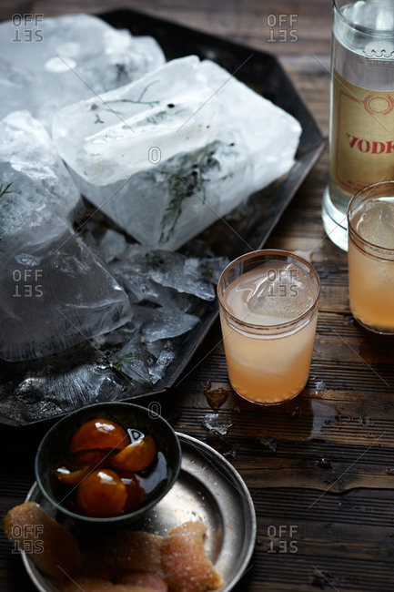 Overhead view of ingredients for citrus juniper cocktails
