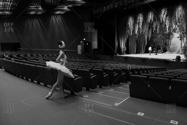 02/14/2013: A dancer views the stage from the back of the theater