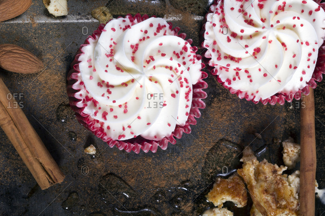Cupcakes with pink sprinkles