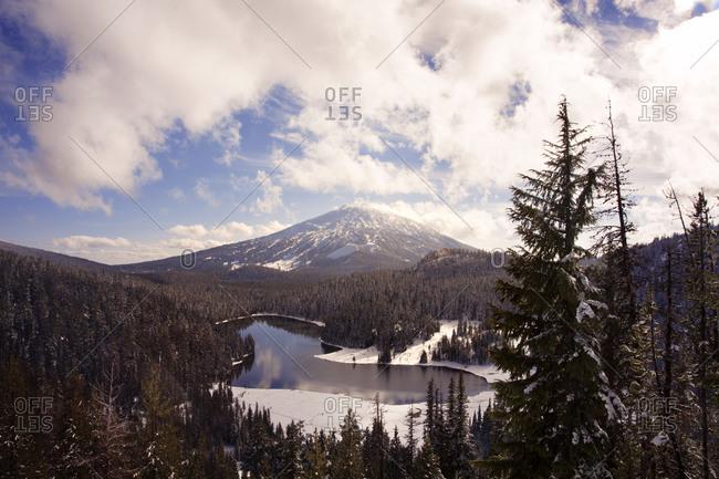 Pristine lake in mountain valley