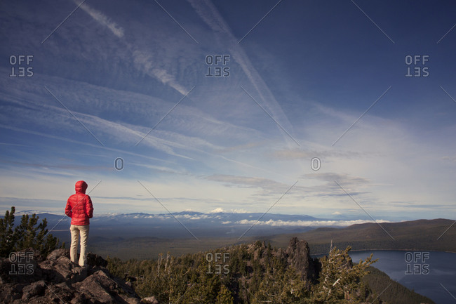 Person looking over vast mountain scenery