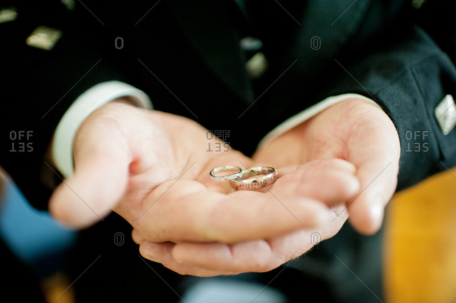 Wedding rings in the hands of the best man