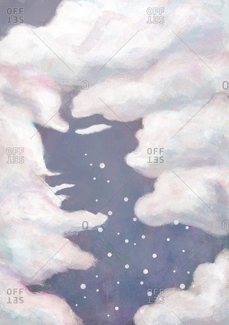 Illustration of a sad woman made of clouds and sky