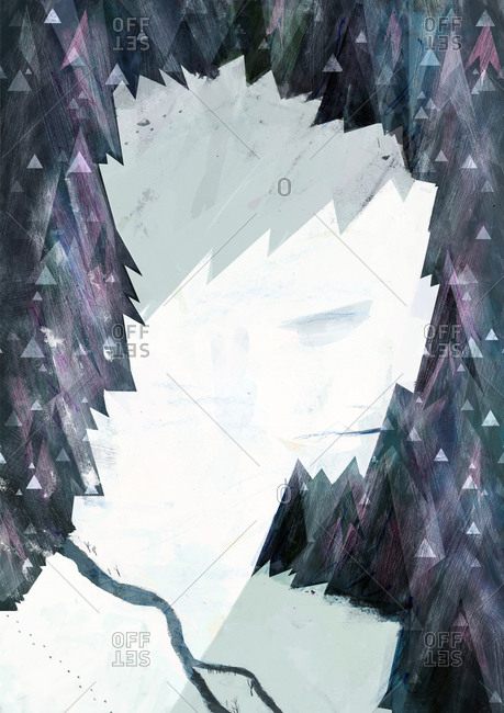 Illustration of a sad man formed in an overhead view of trees and snow