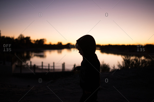 Silhouette of a young boy