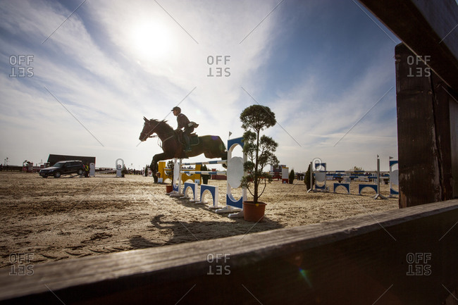 Horse rider jumping over obstacle in course