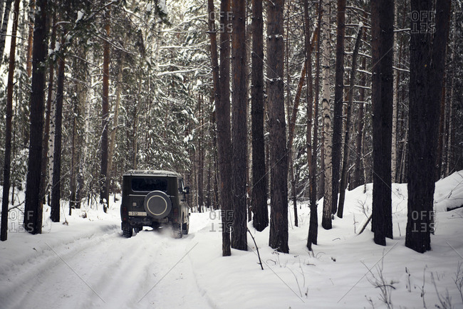 Four-wheel drive driving down path in snowy woods