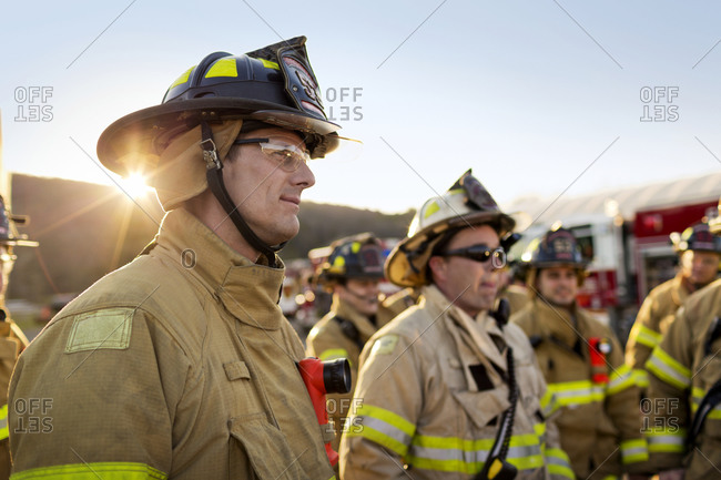 Firemen gather for a meeting