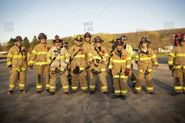 Firefighters gathered together