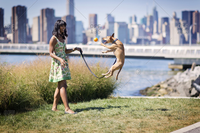 A woman plays fetch with her dog