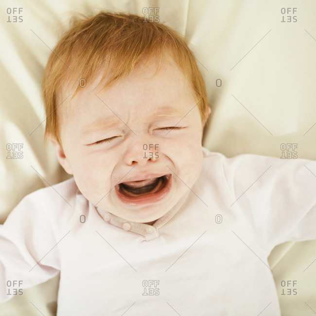 Close up of a crying baby girl