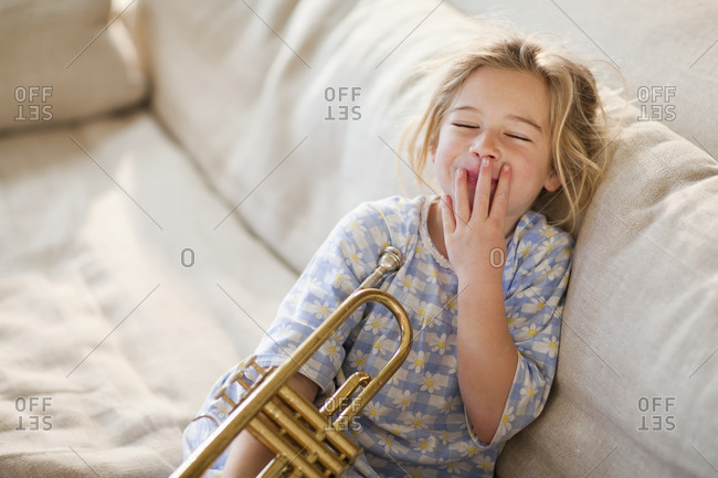 Portrait of girl with trumpet