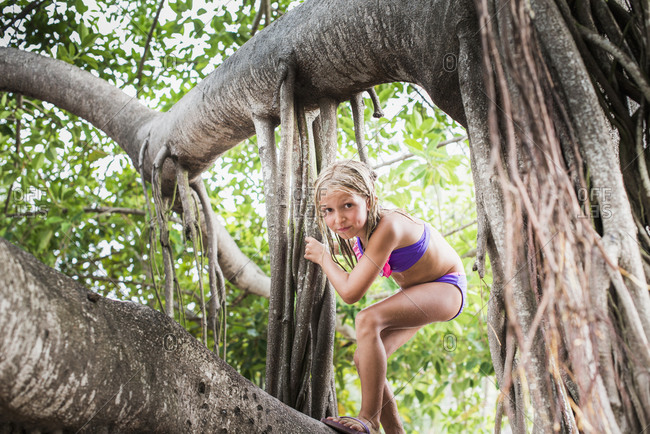 Girl climbing on a tropical tree