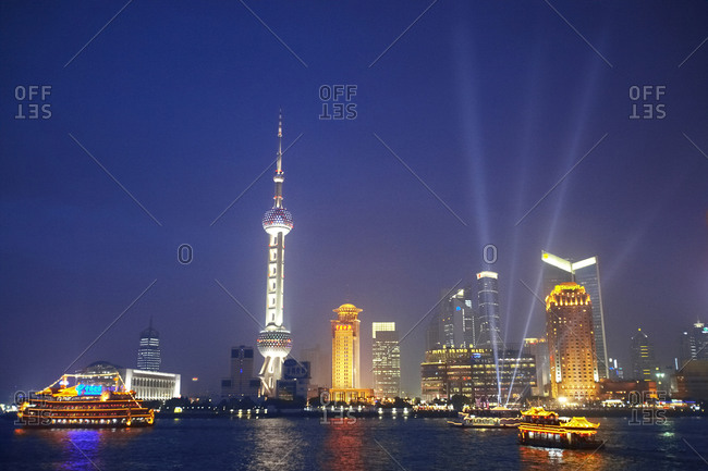 The Oriental Pearl Tower at night in Shanghai, China