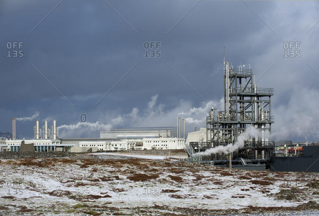 Steam billowing from a power plant in rural Iceland