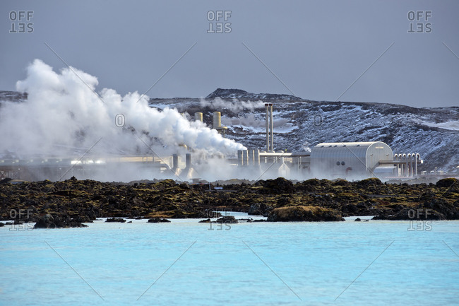 Power plant on a coast in rural Iceland