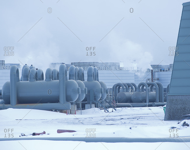Geothermal power plant in rural Iceland