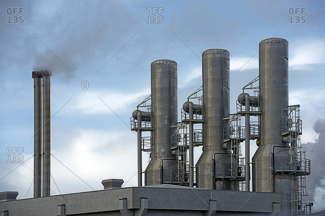 Smoke of a geothermal power plant in rural Iceland