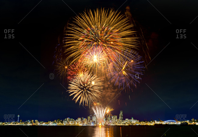 Fireworks exploding in the sky in Seattle, USA