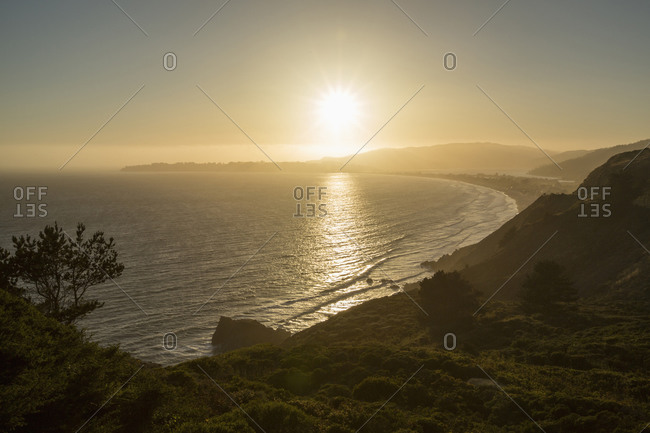 Sunset at Stinson Beach in California, USA