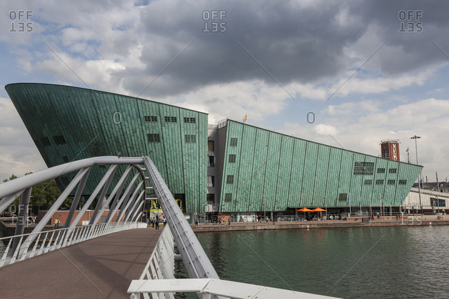 Exterior of the Science Center Nemo in Amsterdam, Netherlands