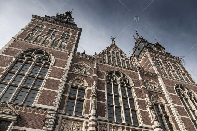 Low angle view of ornate building in Amsterdam, Netherlands