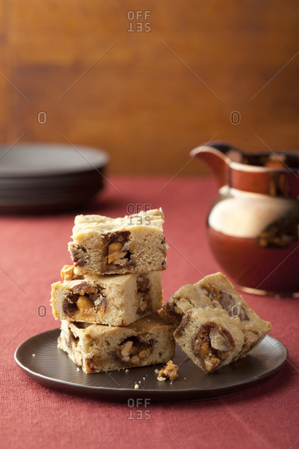 Stack of bar cookies on a plate