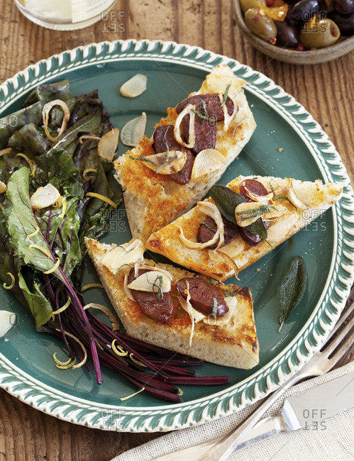 Beet greens with sausage toast