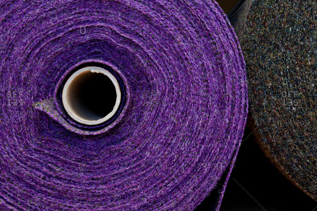 Close-up of rolls of woven wool fabric