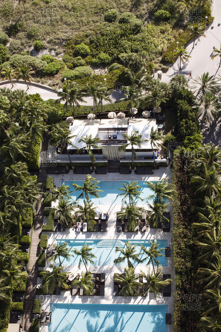 Aerial view of a Miami hotel with three pools