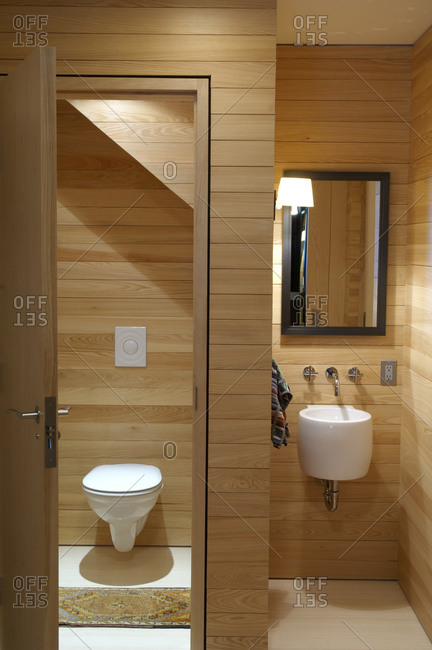 Modern bathroom with wood plank walls and white fixtures