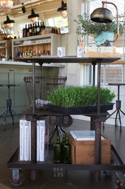 Rolling cart with plants and objects in a bar
