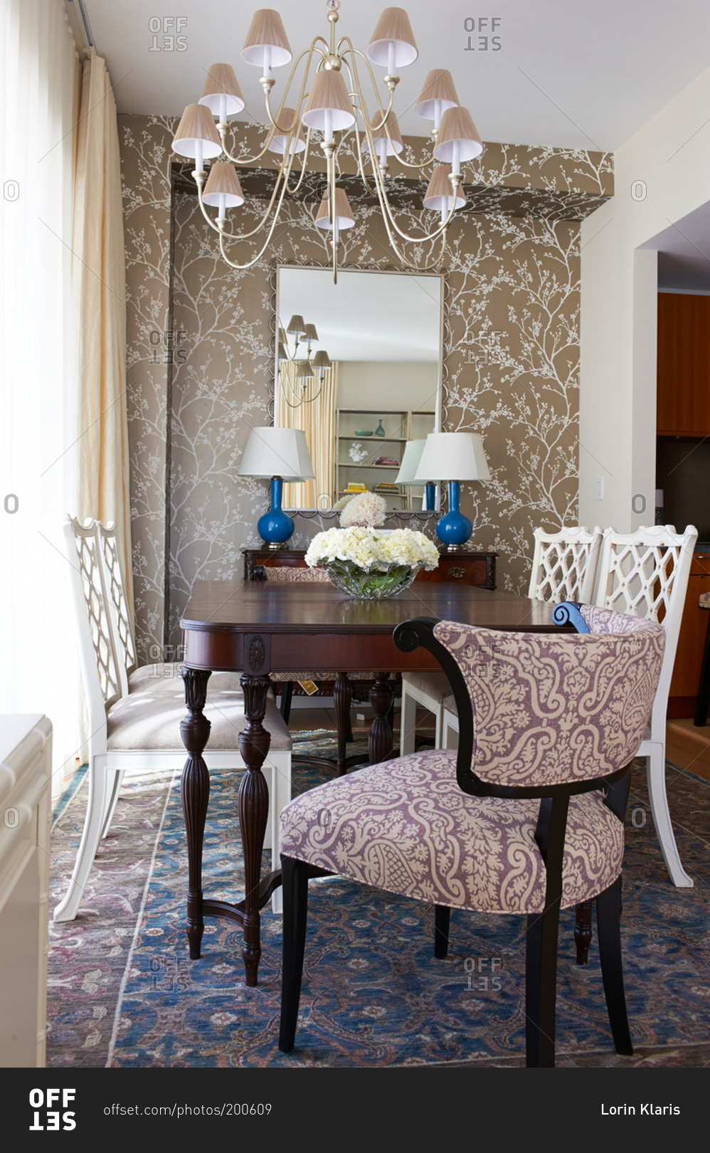 Neutral Colored Dining Room With Blue Oriental Rug Stock Photo Offset