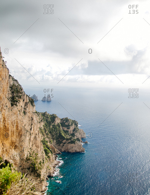 Cliffs on the shore of the Tyrrhenian Sea at Capri, Italy