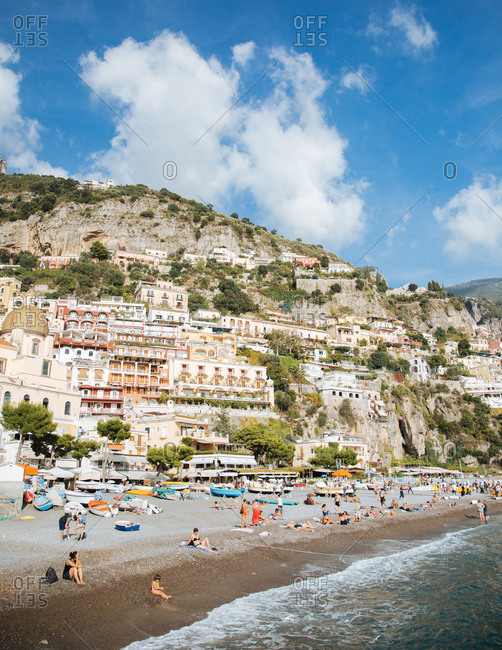 Positano, Italy - December 18, 2014: Beach in Positano, Italy