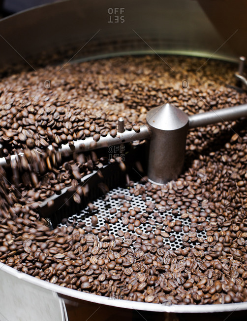 Coffee beans in a roaster