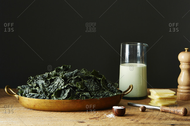 Kale in a large pan