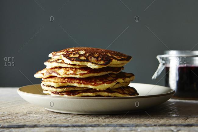 Stack of whole almond flour pancakes