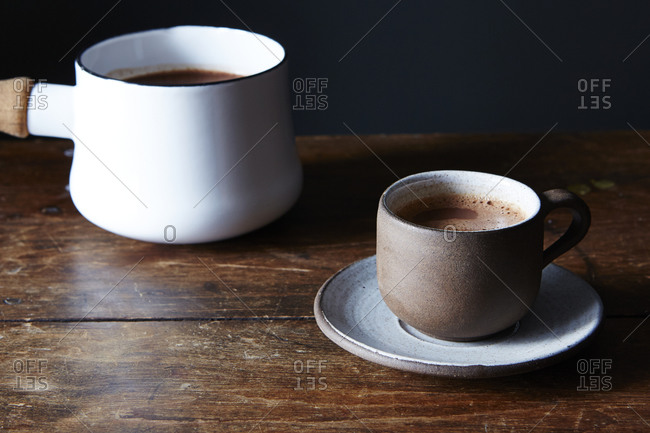 Hot chocolate in demitasse cup