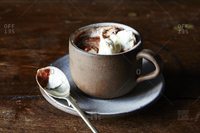 Hot chocolate in demitasse with cream
