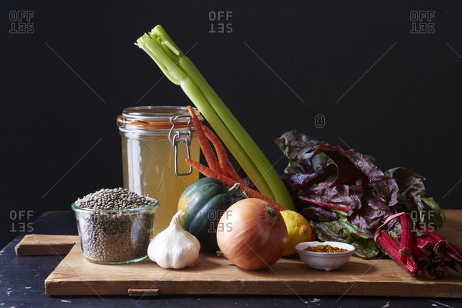 Raw lentil soup ingredients
