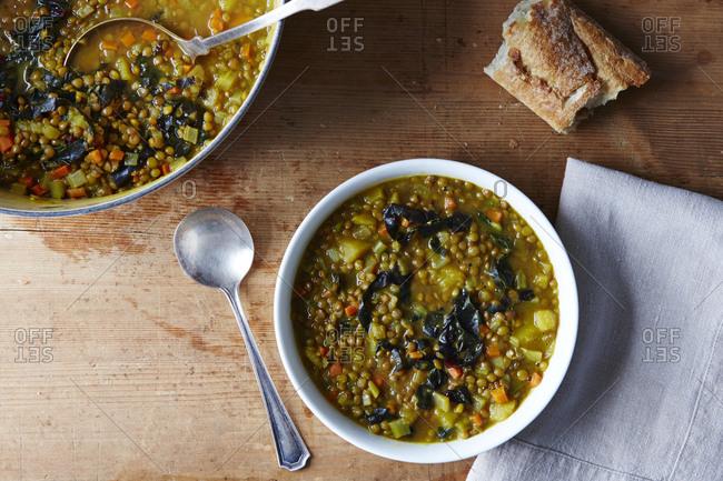 Serving of lentil soup in bowl