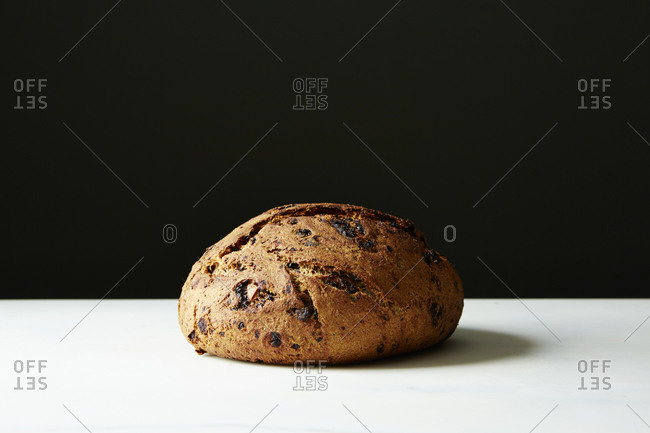 Whole loaf of rosemary chocolate bread