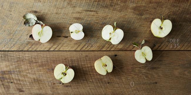 Apple halves in studio shot