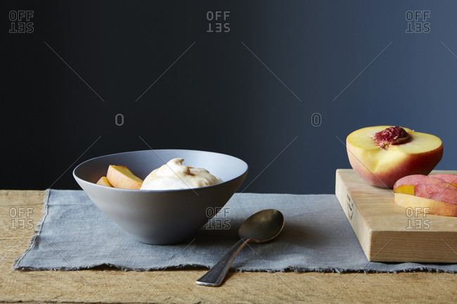 Slices of peach and apricot cream